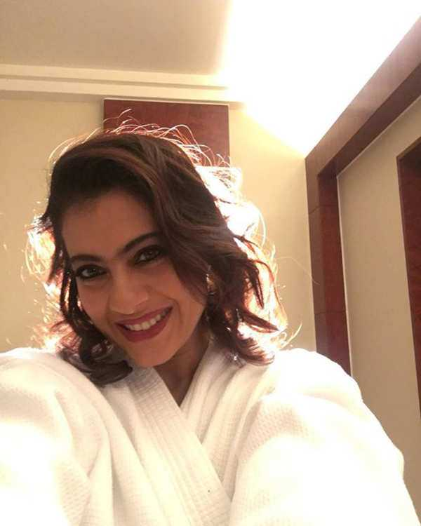 Kajol's selfie in a bathrobe