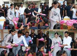 Sonam distributes pads to school girls