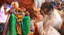 Amitabh Bachchan offers prayers at Lalbaugcha Raja