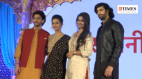 Sayantani, Tejasswi Prakash, Kinshuk Vaidya and Aashim Gulati at Karna Sangini's launch