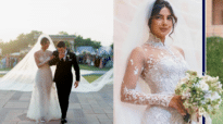 PeeCee's wedding gown has special message written on it