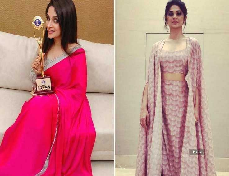 TV celebs look all glam at an award function