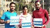 Mumbai Marathon: Athletes Gopi, Rawat and Sudha Singh pose for shutterbugs