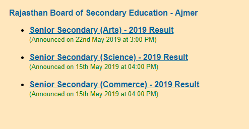 RBSE 12th Arts result 2019 announced @ rajresults nic in